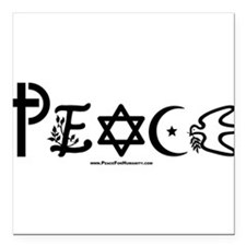 "Unique Symbol for coexistence Square Car Magnet 3"" x 3"""