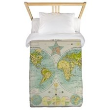Old World Map Twin Duvet