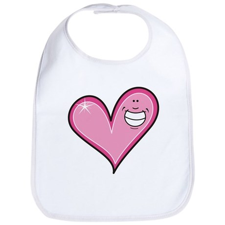 Pink Heart Cartoon Smile Smiley Bib