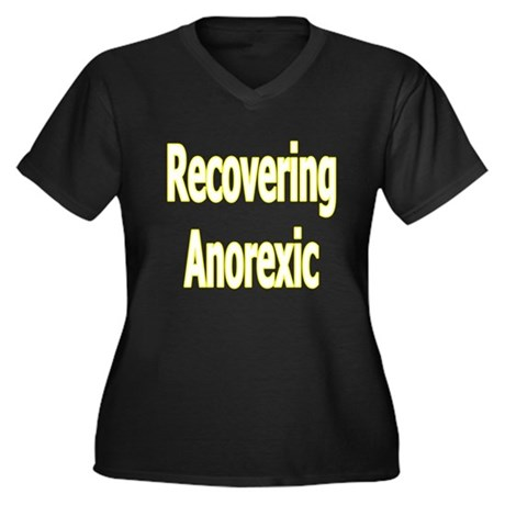 """""""Recovering Anorexic"""" Women's Plus Size V-Nk Dark"""