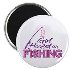 "Girl Hooked On Fishing 2.25"" Magnet (10 pack)"