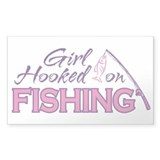 Girl Hooked On Fishing Rectangle Decal