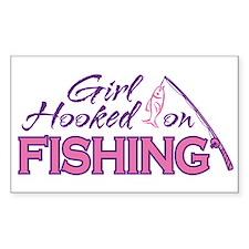 Girl Hooked On Fishing Rectangle Decal