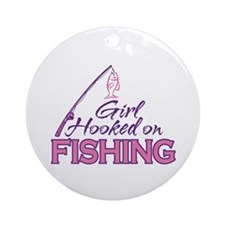 Girl Hooked On Fishing Ornament (Round)
