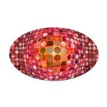 Optical Illusion Sphere - Pink Oval Car Magnet