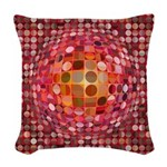 Optical Illusion Sphere - Pink Woven Throw Pillow