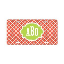 Coral Lime Quatrefoil Monogram Aluminum License Pl