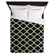 black and white quatrefoil 2 Queen Duvet