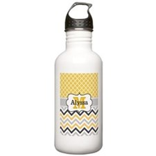 Yellow Gray Quatrefoil Chevron Monogram Water Bott