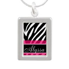 Black Pink Zebra Personalized Necklaces