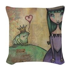 The Frog Princess Woven Throw Pillow