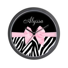 Black Pink Bow Zebra Personalized Wall Clock