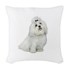 Maltese (cutiepie) Woven Throw Pillow