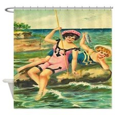 Vintage Victorian Women Fishing Shower Curtain