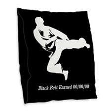 Black Belt Personalized Burlap Throw Pillow
