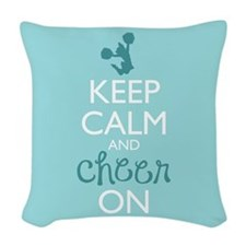Keep Calm and Cheer On Woven Throw Pillow