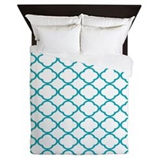 white and light teal quatrefoil Queen Duvet