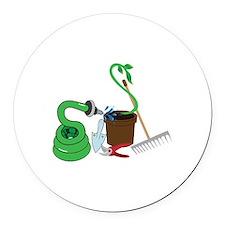 Garden Tools Round Car Magnet