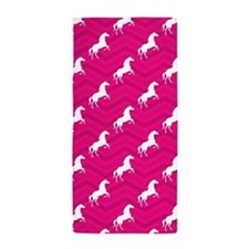 Hot Pink, White Horse, Equestrian, Chevron Beach T