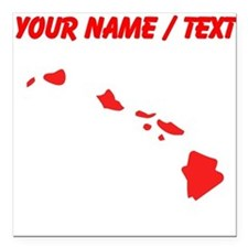 """Custom Red Hawaii Silhouette Square Car Magnet 3"""""""