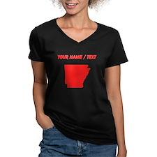 Custom Red Arkansas Silhouette T-Shirt