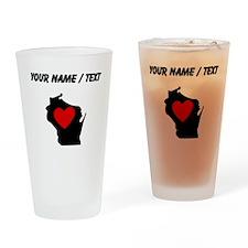 Custom Wisconsin Heart Drinking Glass