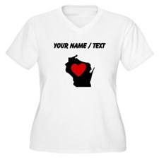 Custom Wisconsin Heart Plus Size T-Shirt