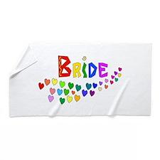 Rainbow Hearts Bride Beach Towel