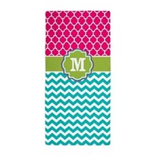 Pink Green Teal Chevron Quatrefoil Monogram Beach