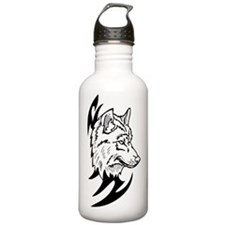 Cute White wolves and black wolves Water Bottle
