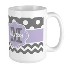 Gray Purple Polka Dots Chevron Monogram Mugs