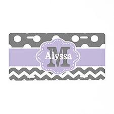 Gray Purple Polka Dots Chevron Monogram Aluminum L