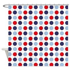 Nautical Dots White Shower Curtain