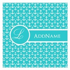 Teal and White Anchors Patt Invitations