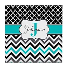 Black Gray Teal Chevron Quatrefoil Personalized Ti
