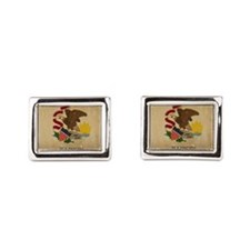 Illinois State Flag VINTAGE Rectangular Cufflinks