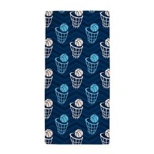 Blue and Tan Chevron Basketball Net Beach Towel