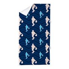 Blue and Tan Chevron Basketball Beach Towel