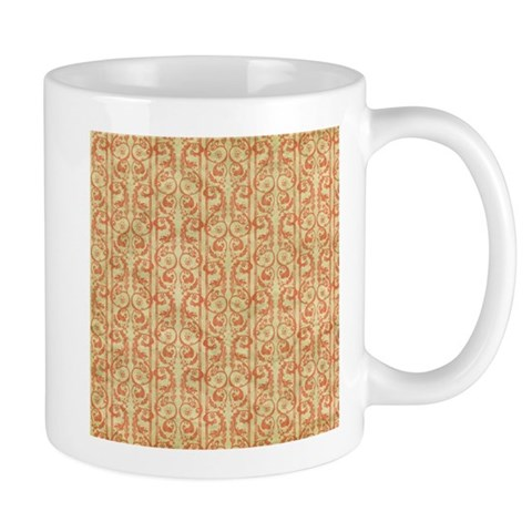 Red Flourish Damask Stripes Pattern Mugs