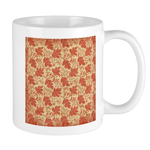 Red Autumn Fall Leaves Flourish Pattern Mugs