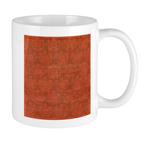 Red Ornamental Floral Vintage Pattern Mugs