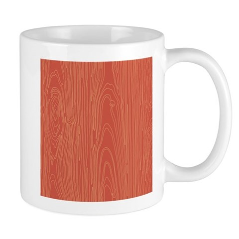 Red Wood Grain Woodland Tree Pattern Mugs
