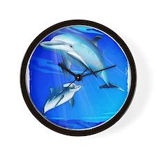 Mom Baby Dolphin Wall Clock