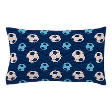Blue and Tan Chevron Soccer Ball Pillow Case
