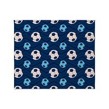Blue and Tan Chevron Soccer Ball Throw Blanket