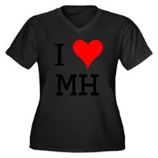I Love MH Women's Plus Size V-Neck Dark T-Shirt