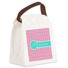 Pink Teal Anchor Monogram Canvas Lunch Bag
