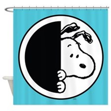 Snoopy Blue And White Shower Curtain
