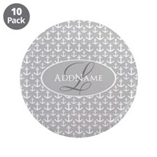 """Gray White Anchors Monogram 3.5"""" Button (10 pack)"""