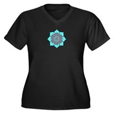 Lotus Blue2 Women's Plus Size V-Neck Dark T-Shirt